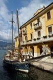 The harbor of Malcesine on Lake Garda,Italy stock photo