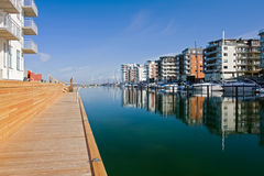 Harbor of Malmo. Yachts and modern houses in a gulf of Malmo, Sweden Royalty Free Stock Photo