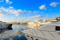 Harbor and marina at Cannes, France stock images