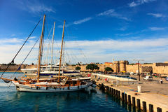Harbor and Marine Gate in Rhodes, Greece. Royalty Free Stock Photography