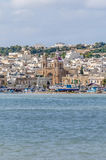 Harbor of Marsaxlokk, a fishing village in Malta. Harbor of Marsaxlokk, a traditional fishing village located in the south-eastern part of Malta stock photo