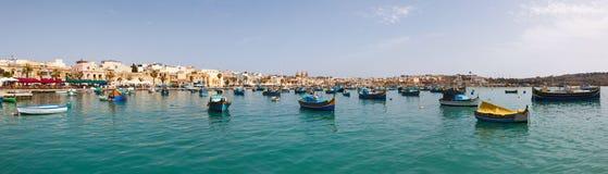 Harbor of Marsaxlokk, Malta 2013. Panoramic view of the harbor of Marsaxlokk, Malta 2013 royalty free stock photography