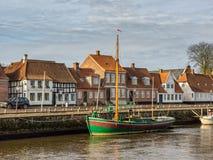 Harbor in medieval city of Ribe, Denmark Royalty Free Stock Photos