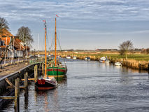 Harbor in medieval city of Ribe, Denmark Stock Images
