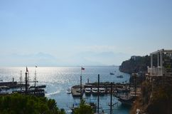 Harbor on the Mediterranean Sea in Antalya, Turkey. Ships and ya royalty free stock image