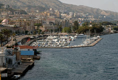 Harbor In Messina, Sicily. Messina, Sicily harbor and dock with mountains in background stock photography