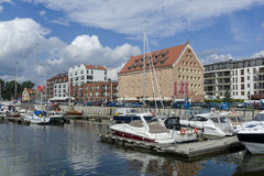 Harbor on the Motlawa river in Gdansk Royalty Free Stock Photo