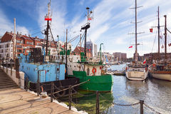 Harbor at Motlawa river in Gdansk Stock Image
