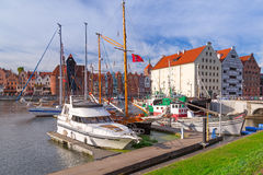 Harbor at Motlawa river in Gdansk Stock Images