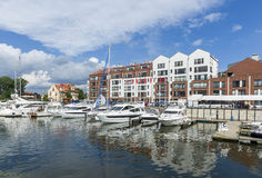 Harbor on the Motlawa river in Gdansk Stock Photos