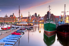 Harbor at Motlawa river with old town. Of Gdansk in Poland Royalty Free Stock Photos