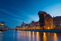 Harbor at Motlawa river with old town of Gdansk in Poland. Stock Photography