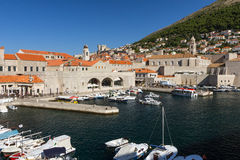 Harbor and Mount Srd in Dubrovnik Stock Photography