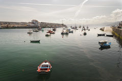 Harbor Mouth of Malpica. Tranquil early summer's afternoon at Malpica's harbour Royalty Free Stock Images