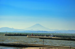 Harbor and Mt. Fuji. Royalty Free Stock Photo