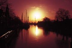 Harbor of Muiden in the Netherlands. Harbor of Muiden at sunset in the Netherlands Royalty Free Stock Image