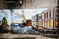 Harbor Mural on a wall in Portland Maine. A colorful portland maine mural from MikeRich Design in this new england city stock photography