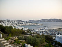 The harbor of Mykonos island in Greece Royalty Free Stock Images
