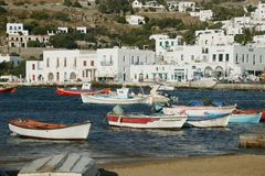 Harbor Mykonos Island. Greek island harbor with fishing boats mykonos cyclades greece Stock Photo