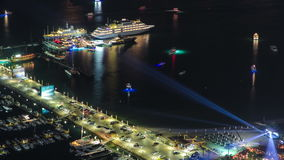 Harbor near Palm Jumeirah with yahcts and cars on stock footage