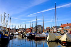 Harbor in the Netherlands. Harbor at Bunschoten/Spakenburg in the Netherlands on sunny day Stock Photo