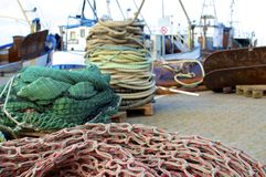 Harbor with nets and ships Stock Image