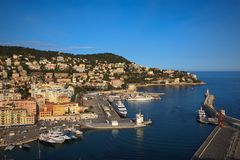 Harbor in Nice, France. View from Colline du chateau Royalty Free Stock Image