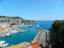 Harbor in Nice, France. View from Colline du chateau. Royalty Free Stock Images