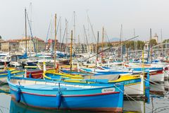 Harbor in Nice south of France color boats Port de Nice. Beautiful colorful boats Stock Image