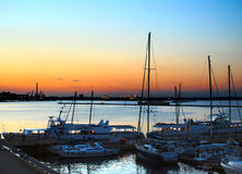 Harbor at night. Decline on the sea Royalty Free Stock Images