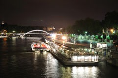 Harbor at night, Paris Royalty Free Stock Photos
