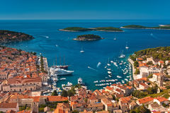 Harbor of old Adriatic island town Hvar. High angle view. Popular touristic destination of Croatia Stock Photo
