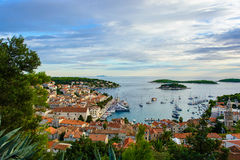 Harbor of old Adriatic island town Hvar in Croatia Royalty Free Stock Photo