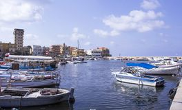 The harbor of the old city of Tire on the Mediterranean. Tyre, Lebanon. The harbor of the old city of Tire on the Mediterranean. Sour, Tyre, Lebanon royalty free stock photography