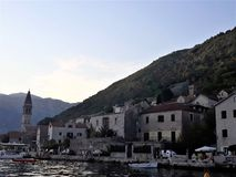 Harbor and old town center of Perast, Montenegro royalty free stock photography