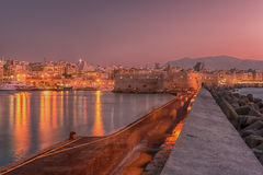Harbor and Old Town of Heraklion, Crete, Greece Stock Photos