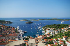 Harbor of old town Hvar on island Hvar Royalty Free Stock Image