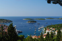 Harbor of old town Hvar on island Hvar Stock Image
