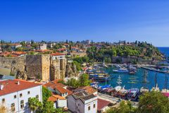 Harbor in old town Kaleici - Antalya, Turkey.  royalty free stock images