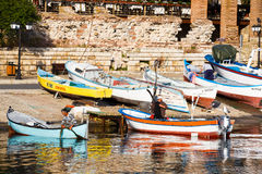 The harbor of the old town of Nessebar, Bulgaria Stock Images