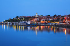 The harbor of the old town of Nessebar at night, Bulgaria Royalty Free Stock Photos