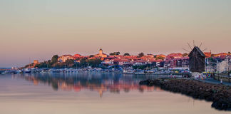 The harbor of the old town of Nessebar at sunset, Bulgaria . UNESCO World Heritage Centre Stock Image