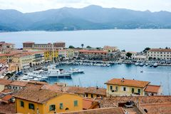Harbor and old town of Portoferraio on Elba island stock photos