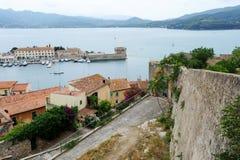 Harbor and old town of Portoferraio on Elba island Stock Photos
