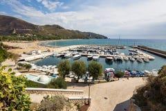 Harbor of old town Sperlonga, Lazio, Italy Stock Photos