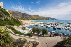 Harbor of old town Sperlonga, Lazio, Italy Royalty Free Stock Photography