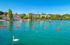 Harbor Ouchy waterfront at the Geneva Lake Royalty Free Stock Image