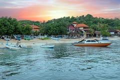 Harbor at Padangbai on Bali Indonesia at sunset Royalty Free Stock Photography