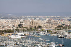 The harbor of Palma de Mallorca, Spain. Aerial view Stock Image