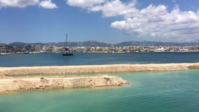 Harbor in Palma De Mallorca, Spain. Sunny and warm summer day. Clear and blue skies stock footage